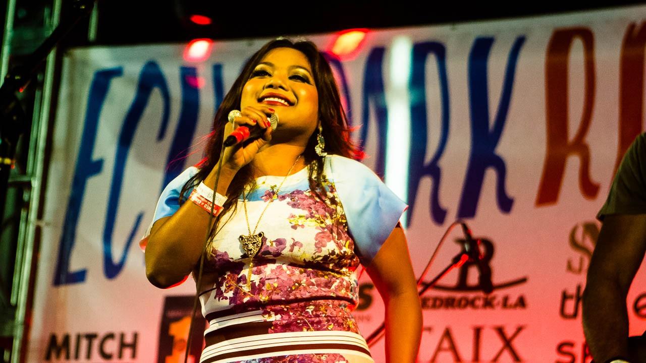 Chhom Nimol of Dengue Fever at Echo Park Rising (Photo by Monique Hernandez)