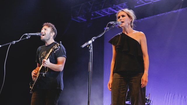 The Cardigans' Nina Persson performing with Local Natives at the Greek Theatre (Photo by Michelle Shiers)