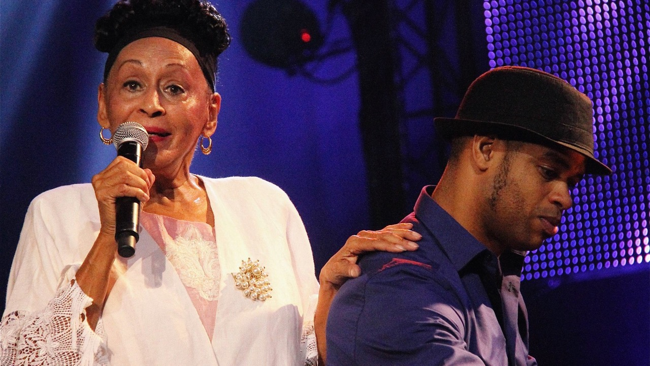 Omara Portuondo, with Robert Fonseca (Photo by Gabrielle S. Montoya)