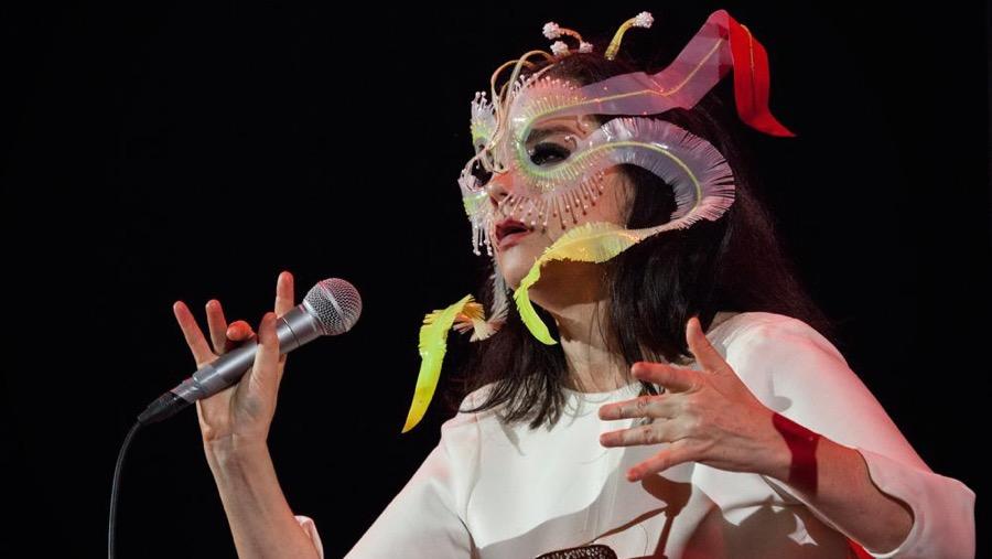 Bjork performing in Mexico City