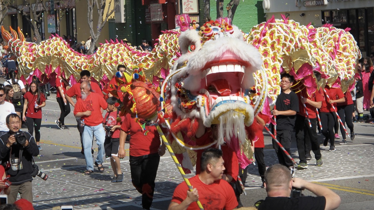 The Golden Dragon Parade in Chinatown LA